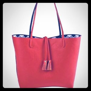 MUDPIE Orange & Navy Reagan Reversible Tote